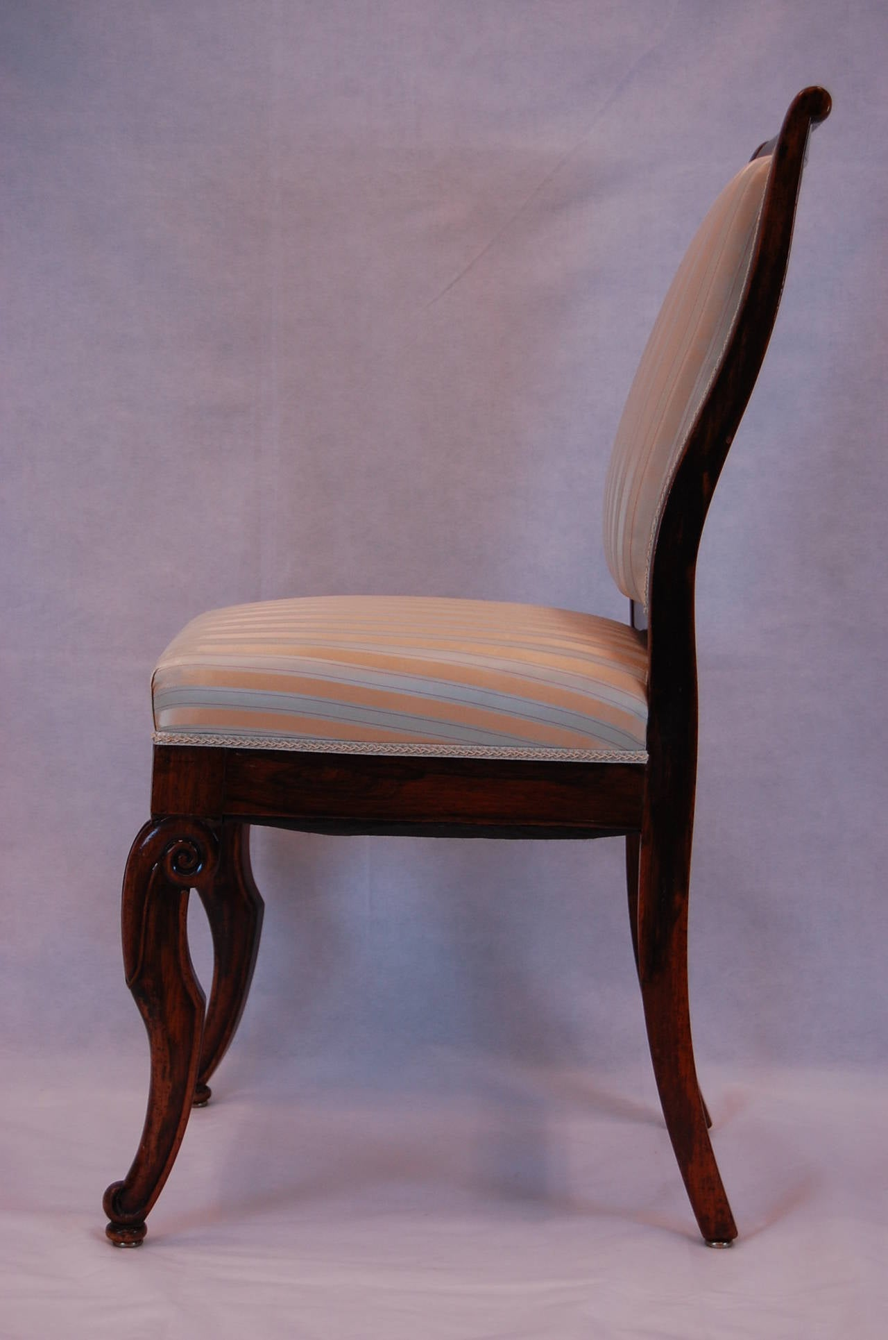 19th Century French Rosewood Side Chairs, Set of Four For Sale 3