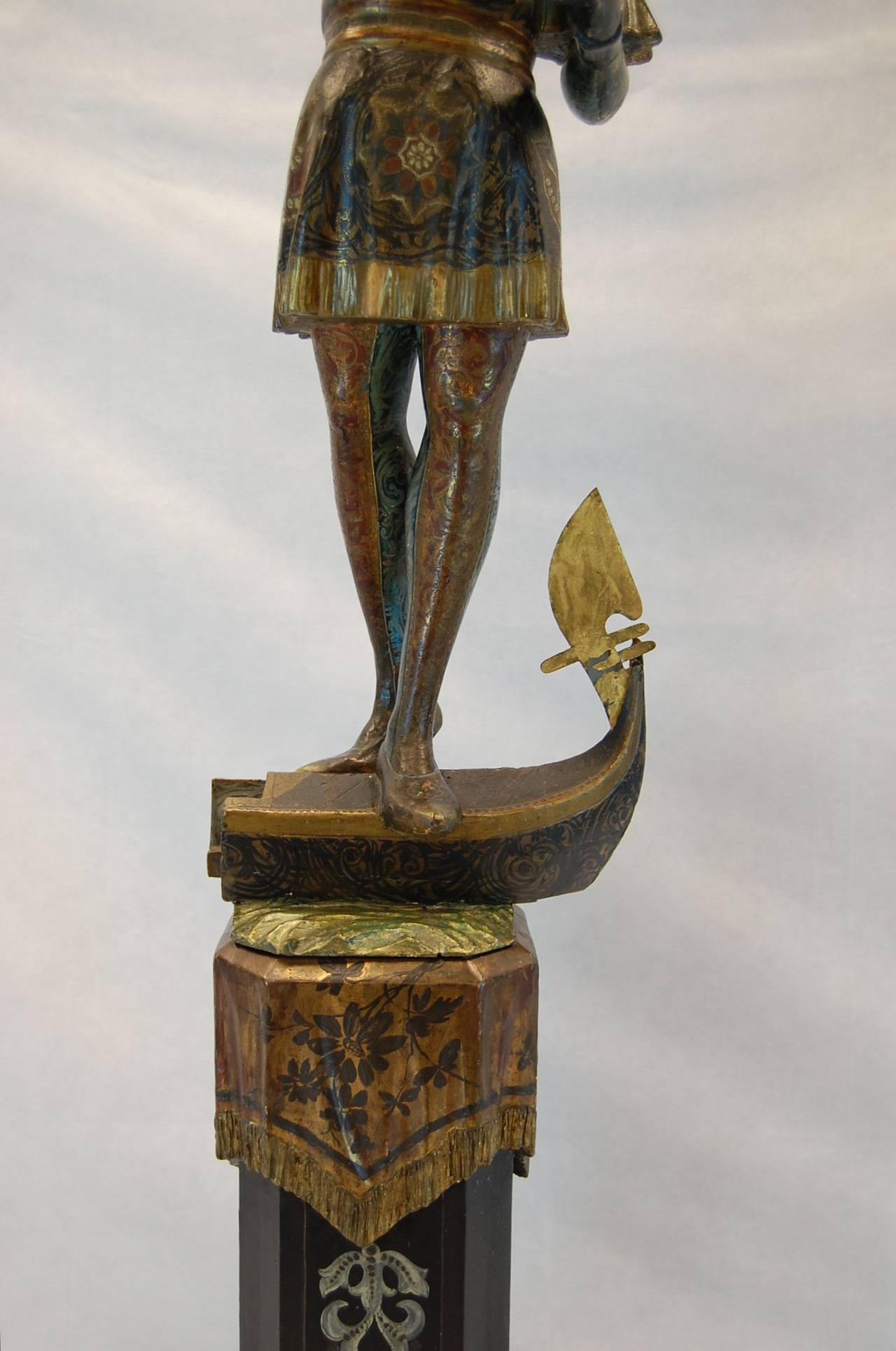 Italian 19th Century Carved and Polychromed Venetian Figure on Gondola Base For Sale