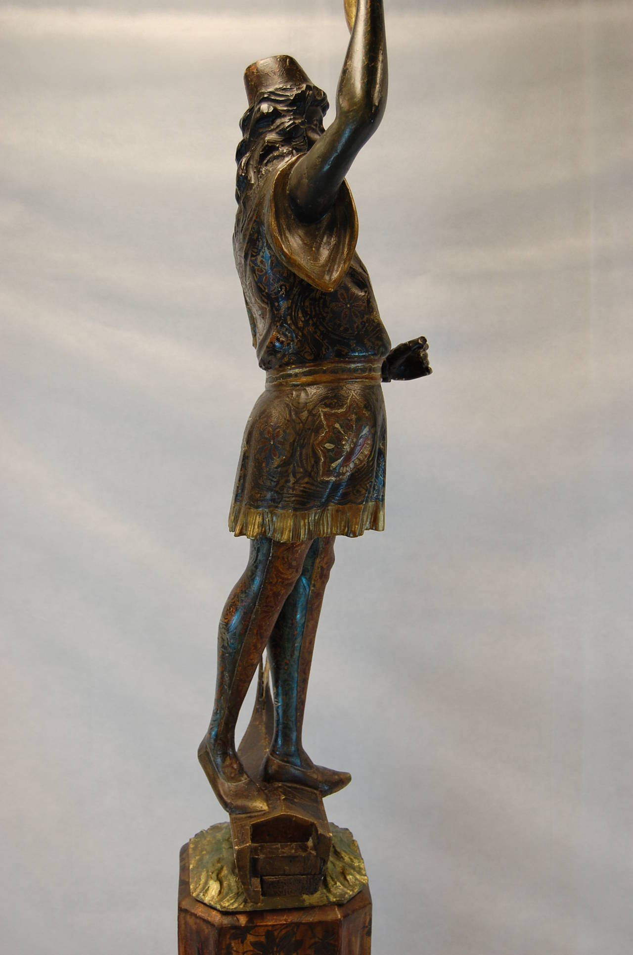 Hand-Carved 19th Century Carved and Polychromed Venetian Figure on Gondola Base For Sale