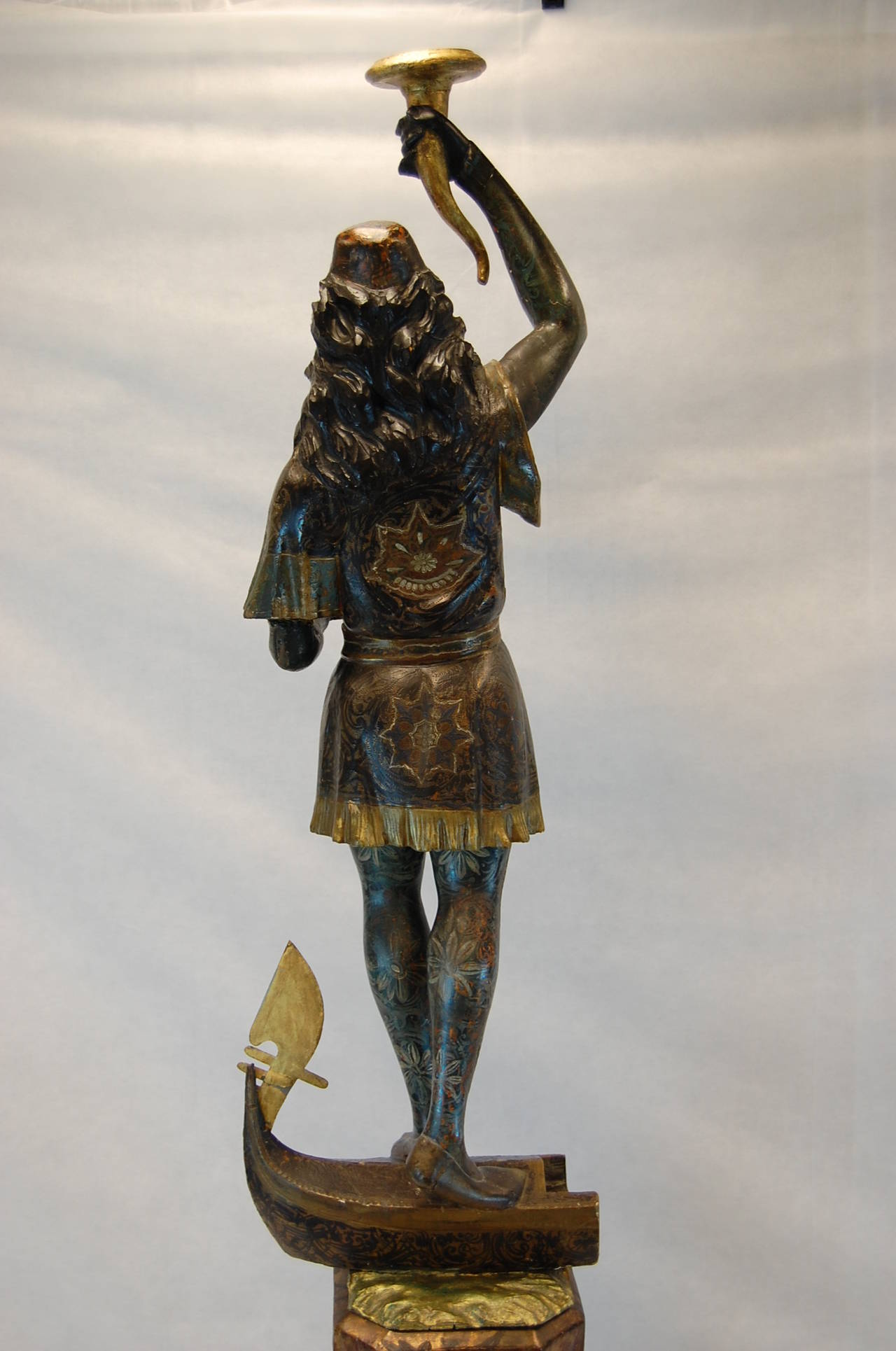 19th Century Carved and Polychromed Venetian Figure on Gondola Base In Good Condition For Sale In Pittsburgh, PA