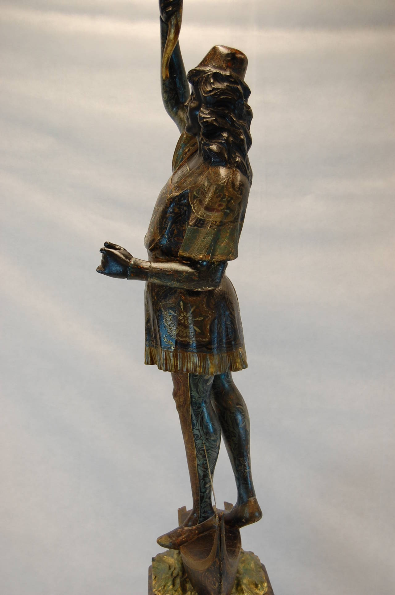 Gesso 19th Century Carved and Polychromed Venetian Figure on Gondola Base For Sale