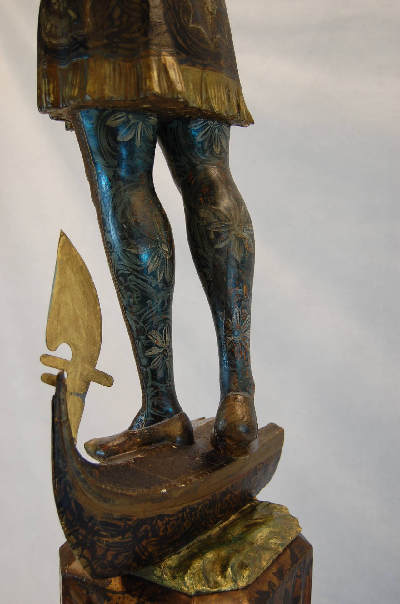 19th Century Carved and Polychromed Venetian Figure on Gondola Base For Sale 1