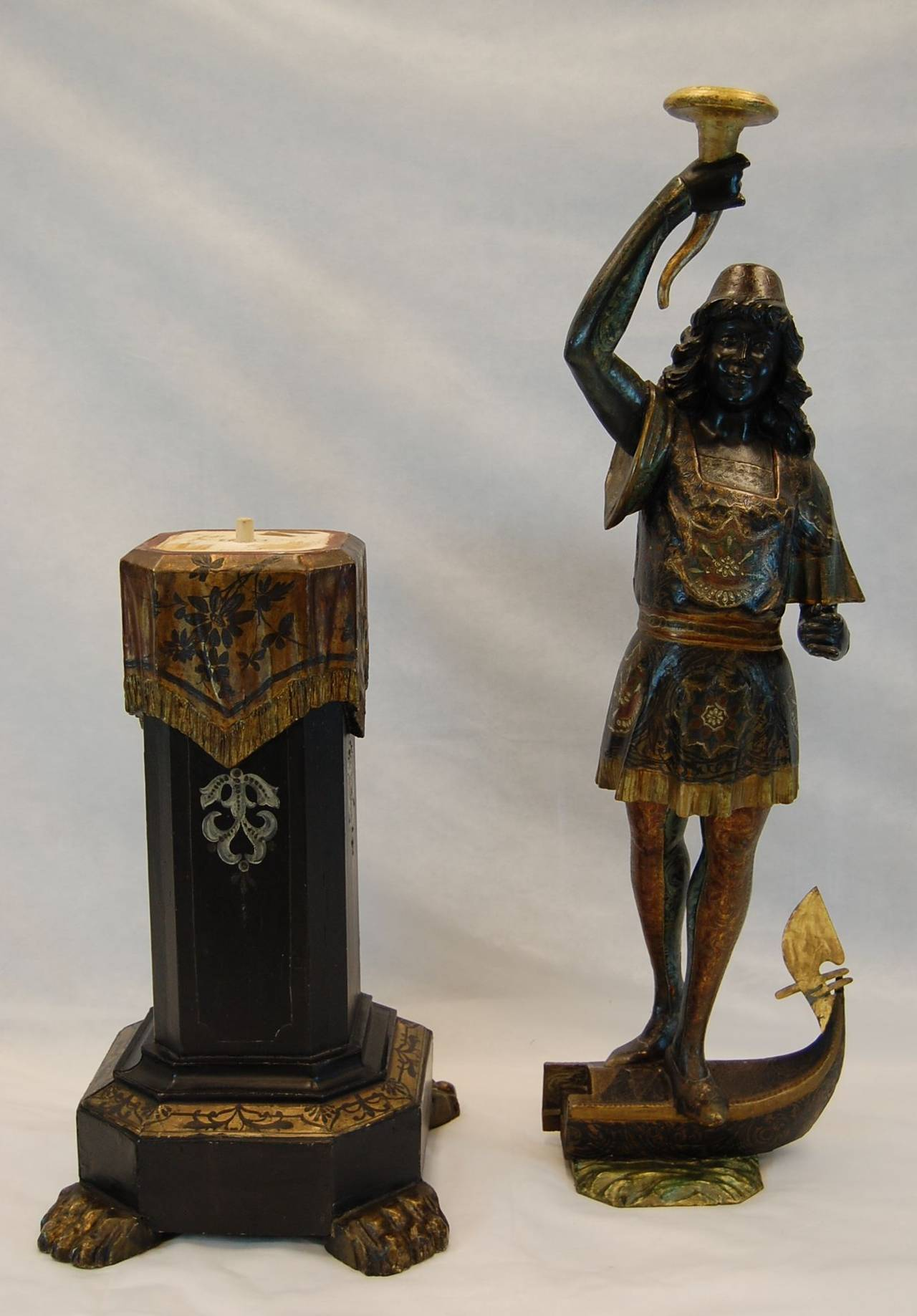 19th Century Carved and Polychromed Venetian Figure on Gondola Base For Sale 2