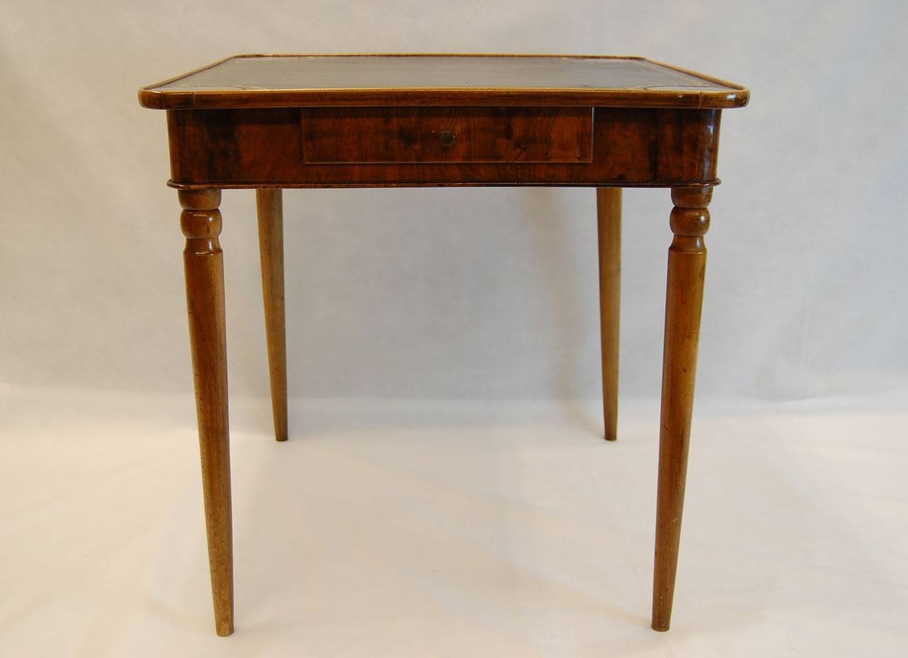 Antique Walnut French Card Table With Leather Top Circa 1830 For