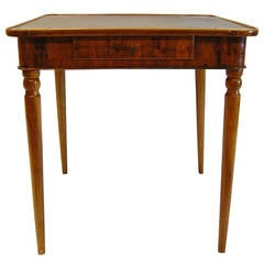 Antique Walnut French Card Table with Leather Top