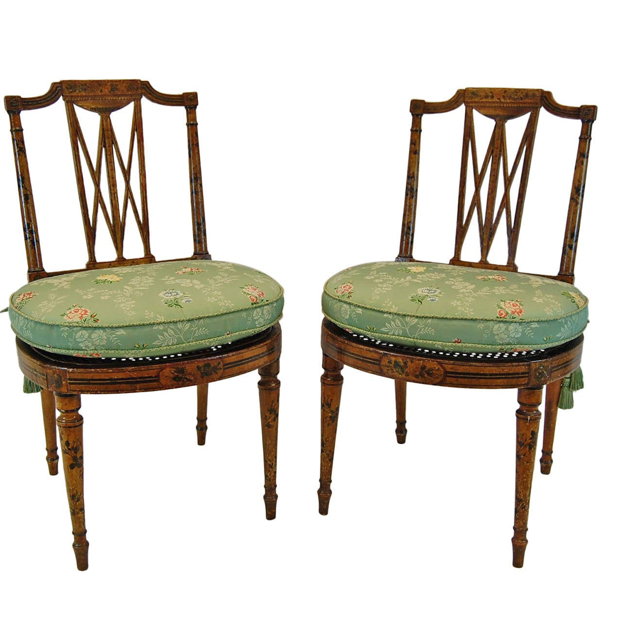 Pair Of 19th Century English Chairs With Cane Seats For Sale