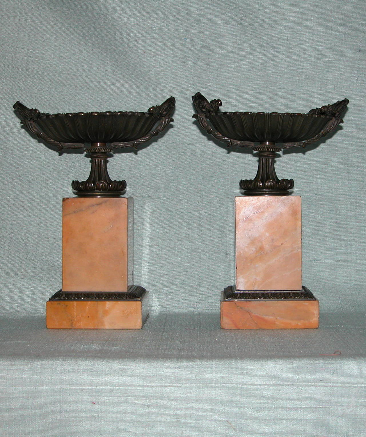 French Pair Charles X Sienna Marble and Bronze (