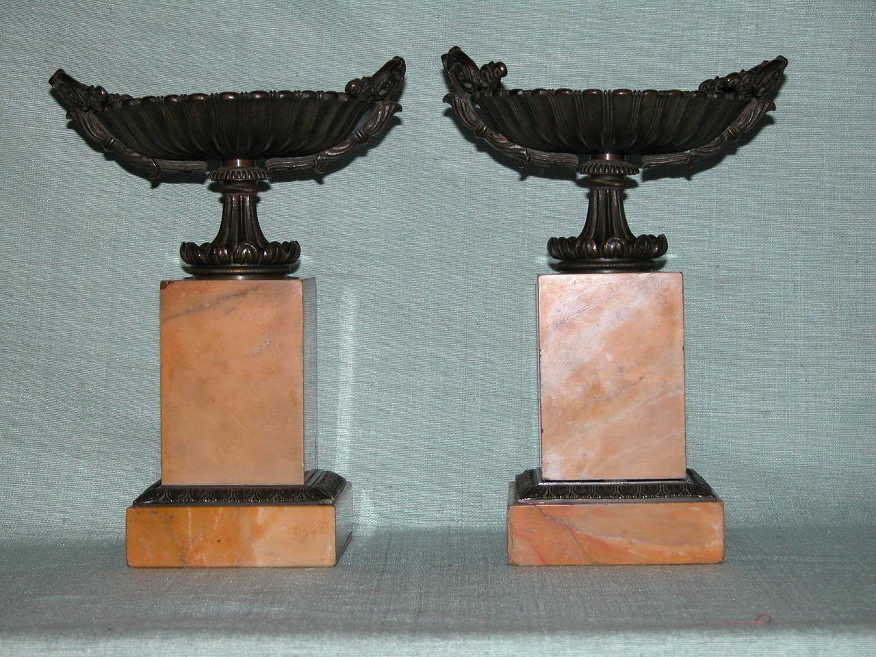 Pair of beautiful bronze and marble (