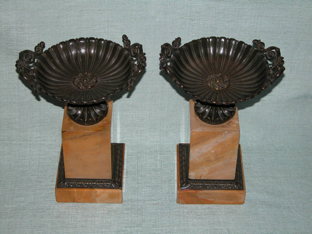 Pair Charles X Sienna Marble and Bronze (
