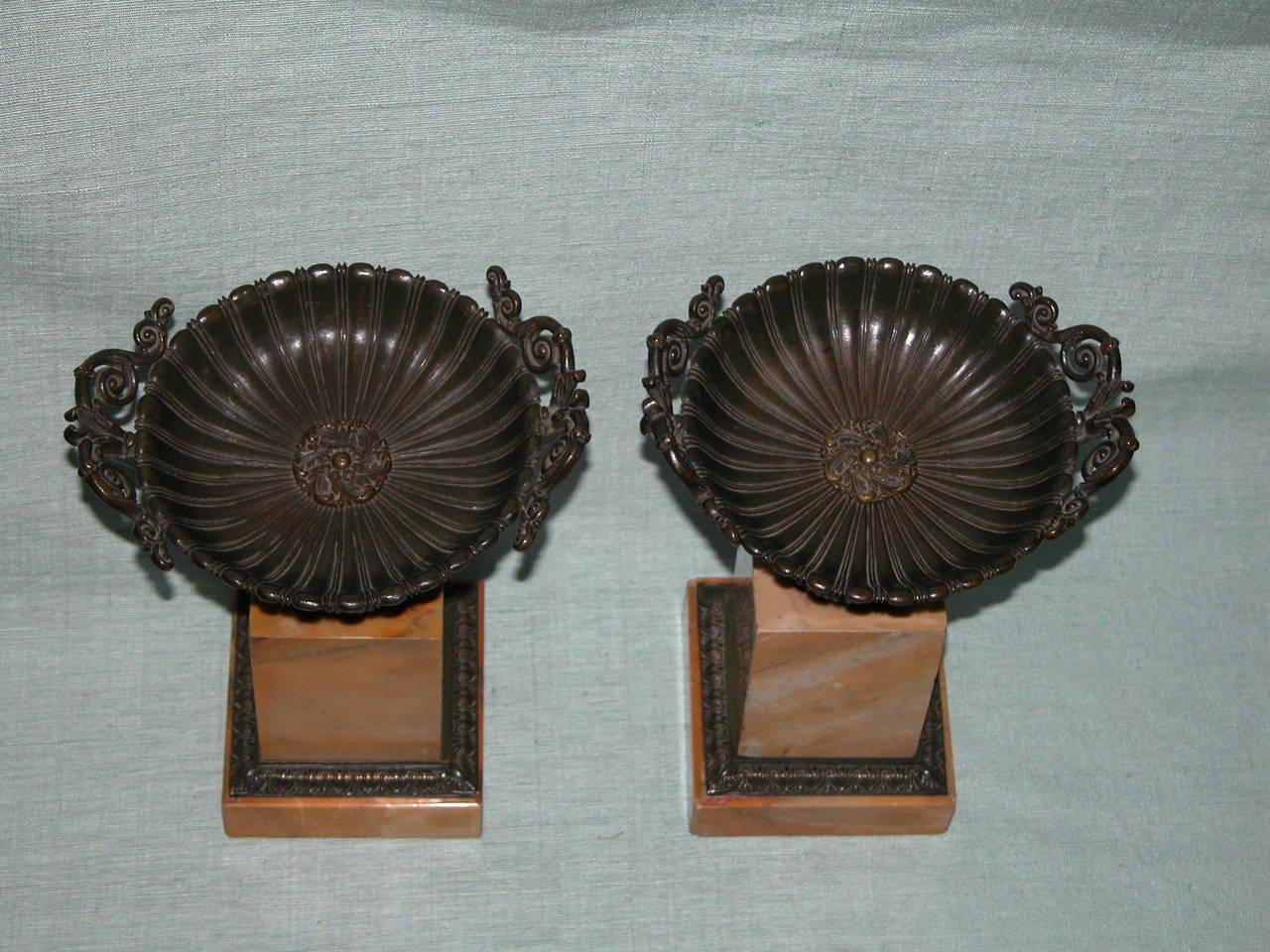 19th Century Pair Charles X Sienna Marble and Bronze (