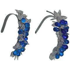 Art Deco Blue Glass Grape Cluster Tiebacks