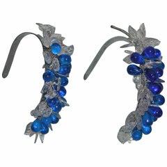 Pair Art Deco Period Blue Glass Grape Cluster Tiebacks
