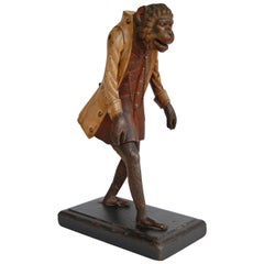 19th Century Carved Wooden Figure of an Upright Walking Monkey