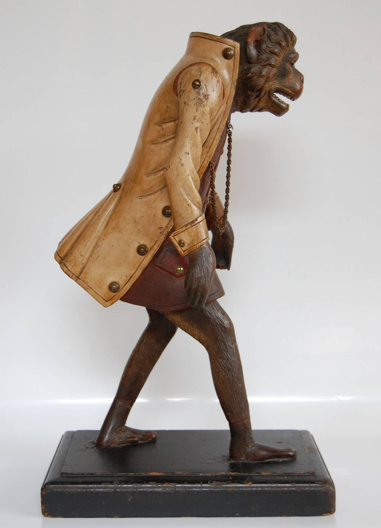 19th Century Carved Wooden Figure Of An Upright Walking