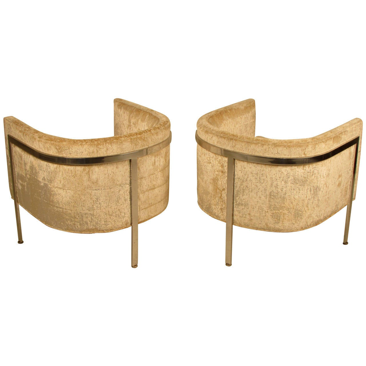 Covetable Pair Of Harvey Probber Club Chairs In Chrome And
