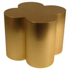 Custom Brushed Brass Quatrefoil Table Base by Refine Modern Studio