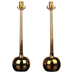 Devastating Pair of MidCentury Brass Orb Lamps by Laurel