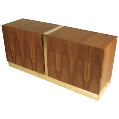 Handsome Six-Drawer Rosewood and Brass Chest by Milo Baughman for Thayer Coggin
