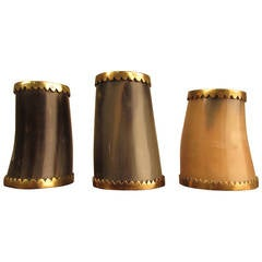 Handsome Italian Natural Horn + Brass Candleholders in the style of Carl Aubock
