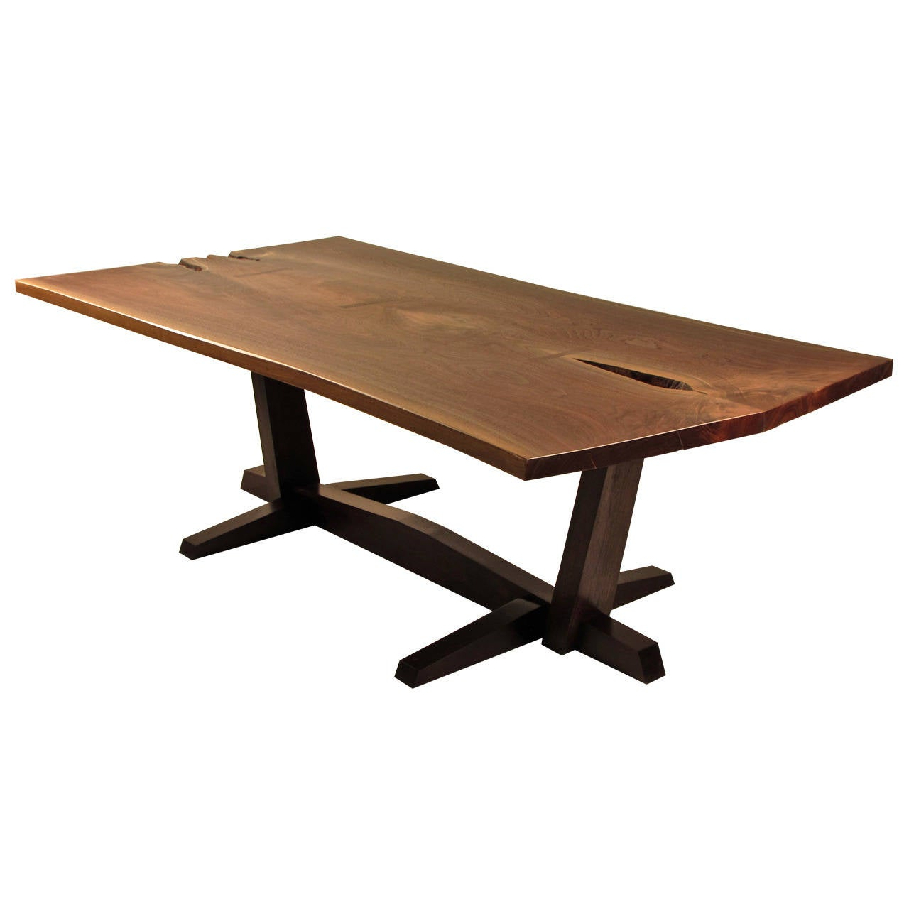 Dramatic live edge black walnut dining table handcrafted for Black dining table