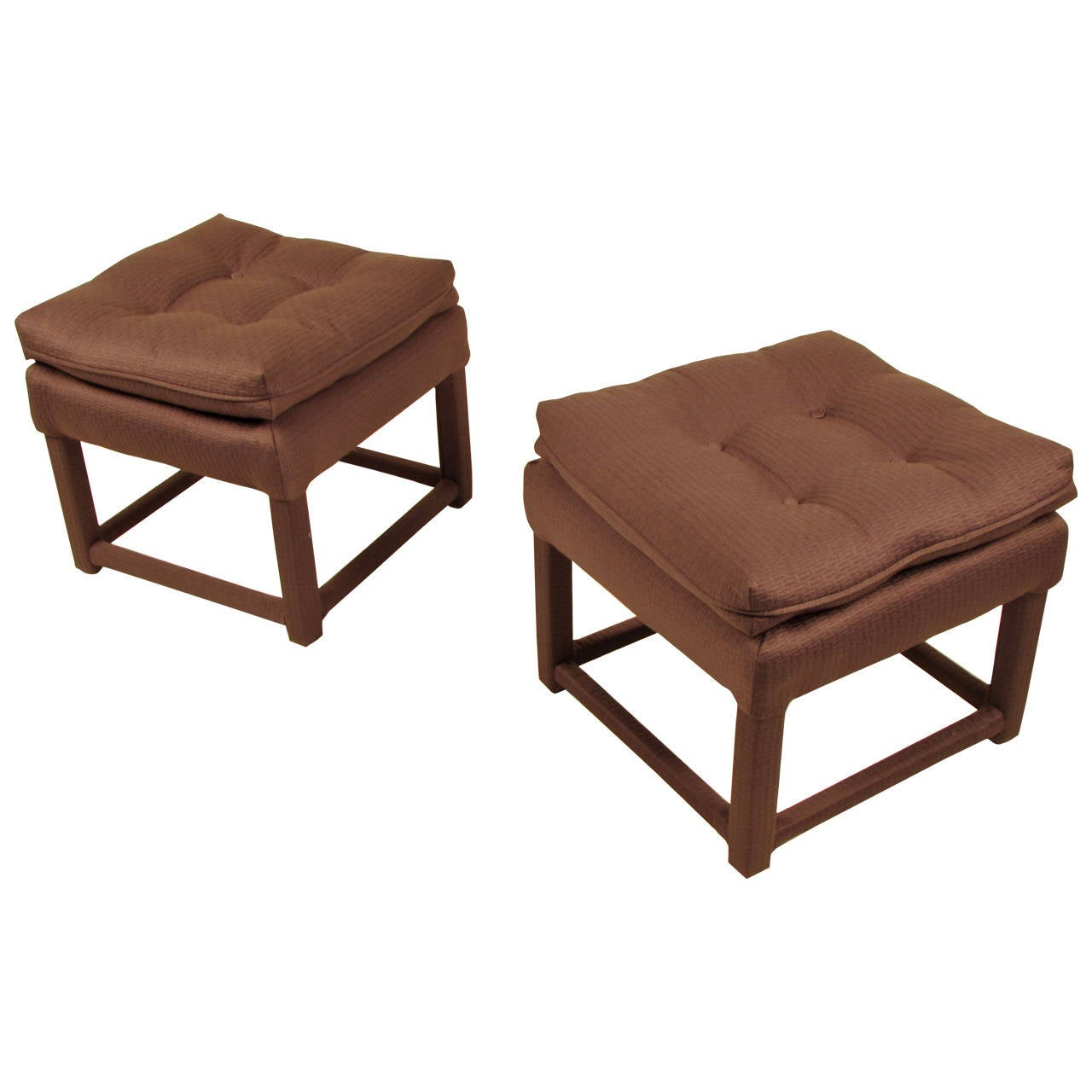Classic Charcoal Gray Stools With Down Pillow Tops In The
