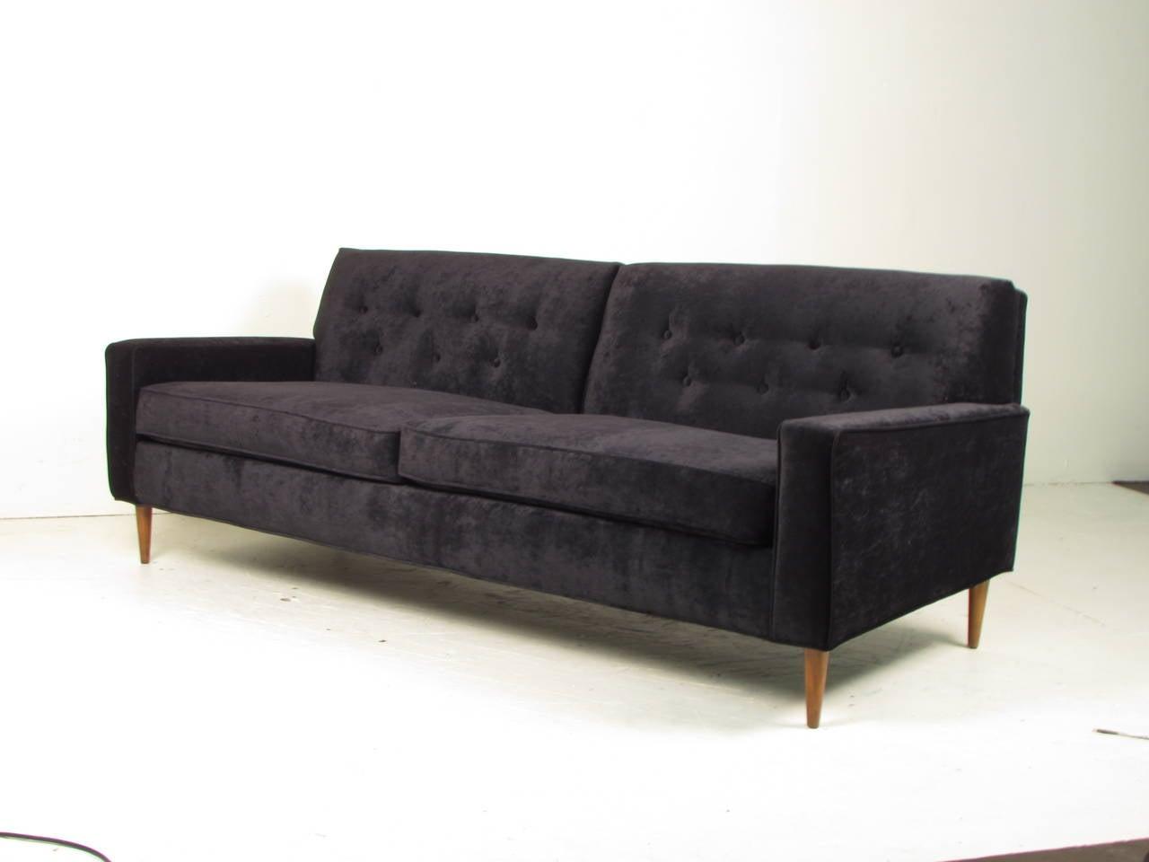 Seductive Black Velvet Sofa In The Style Of Milo Baughman At 1stdibs