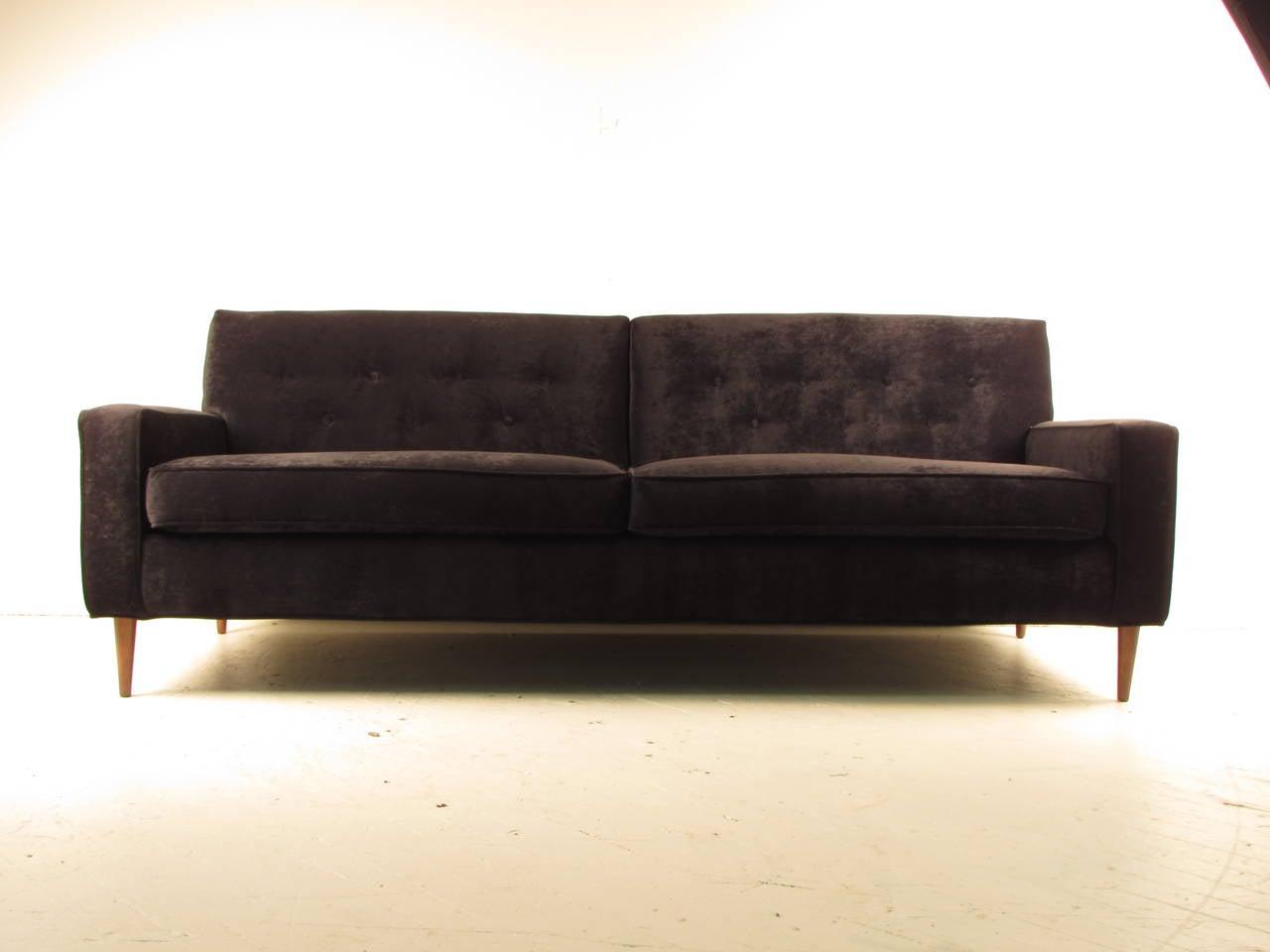 Seductive Black Velvet Sofa In The Style Of Milo Baughman