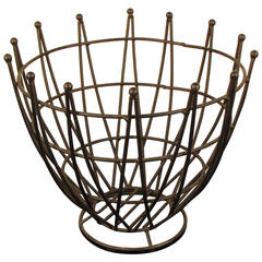 Large Sculptural MidCentury Austrian Wrought Iron Wire Fruit Bowl