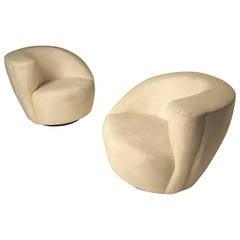 "Pair of ""Corkscrew"" Nautilus Chairs by Vladimir Kagan for Directional"