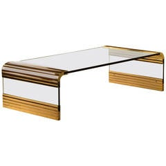 Dramatic Leon Rosen for Pace Collection Scalloped Brass Waterfall Cocktail Table
