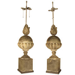 Oversized Cast Zinc Table Lamps in the Neoclassical Style