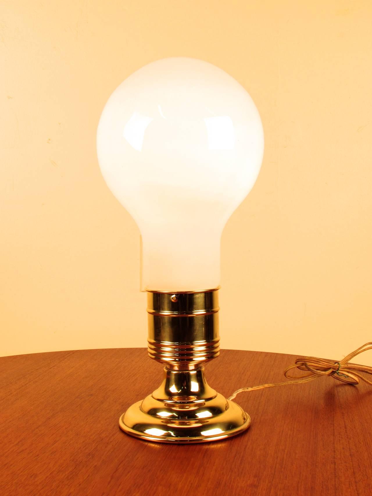 Marvelous Milk Glass And Brass Lightbulb Table Lamp 2