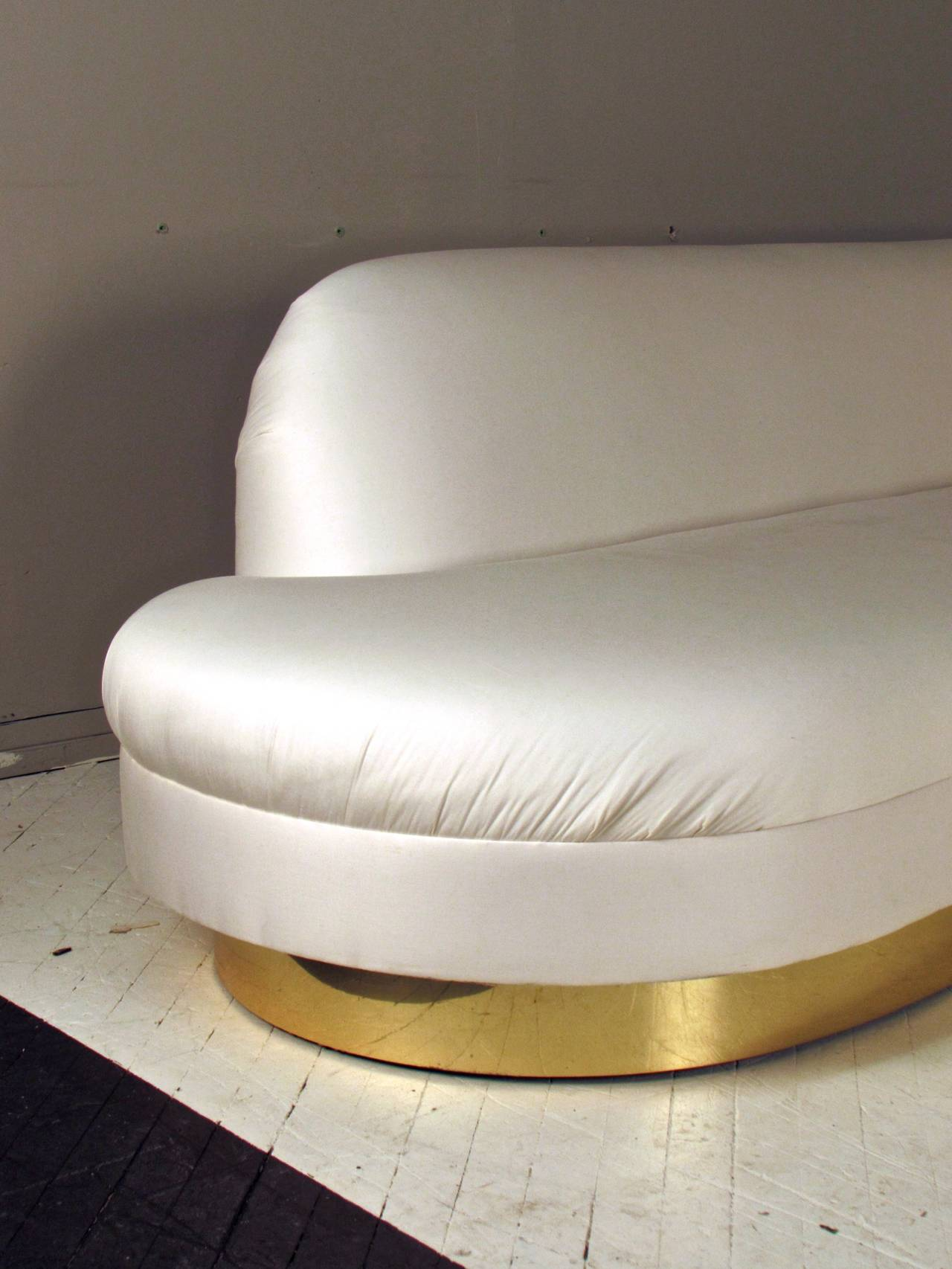 Rare Glamorous Adrian Pearsall Sofa With Brass Base For
