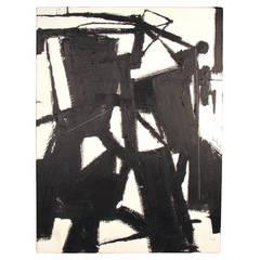 Striking Minimalist Black + White Abstract Oil on Canvas