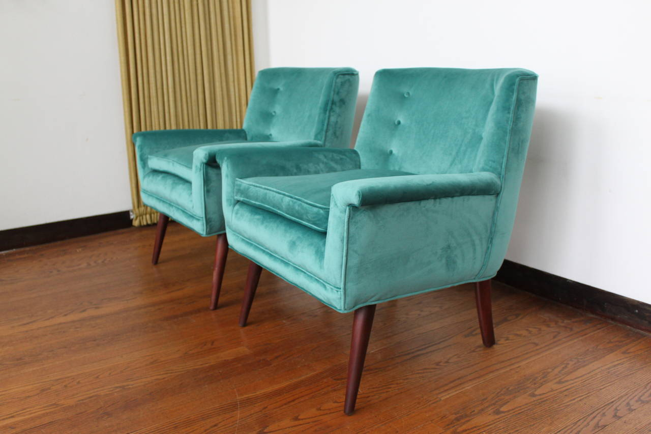 Exceptional Pair of Paul McCobb Style Lounge Chairs in Teal Velvet and Walnut
