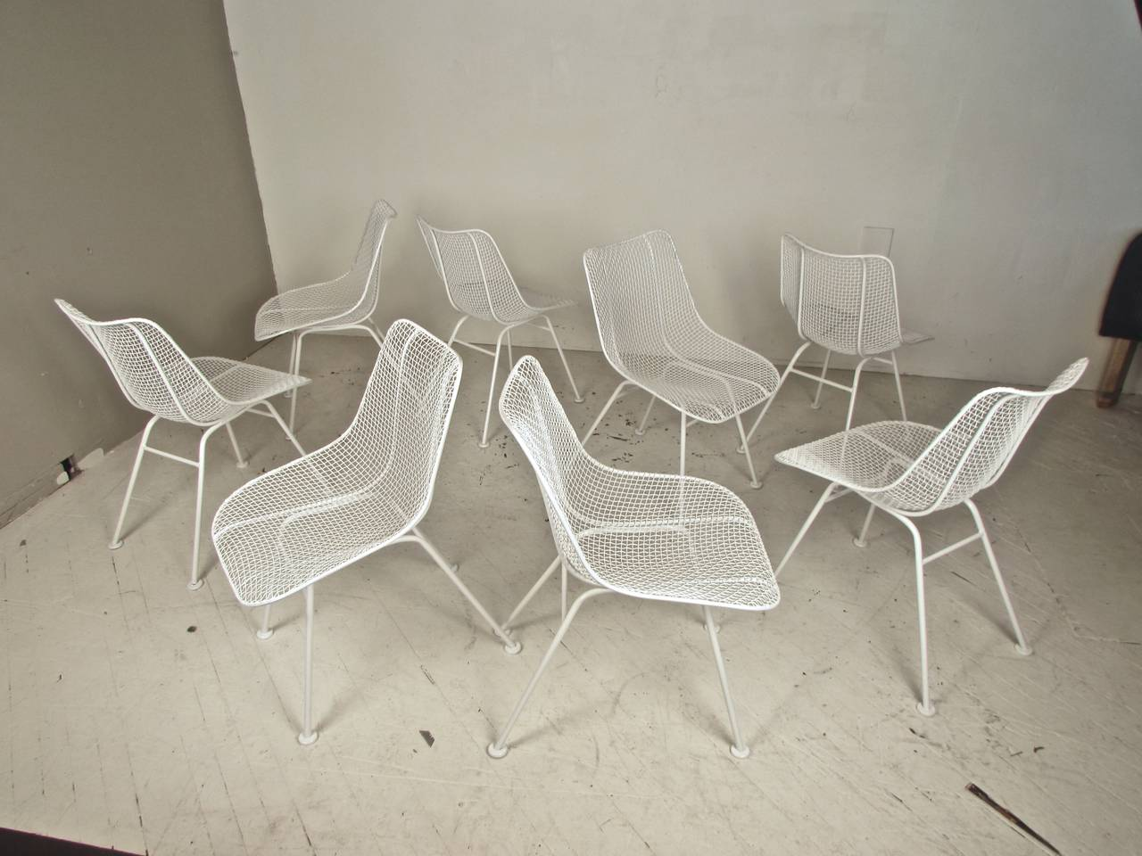 set of eight wire mesh sculptura chairs by woodard furniture at 1stdibs