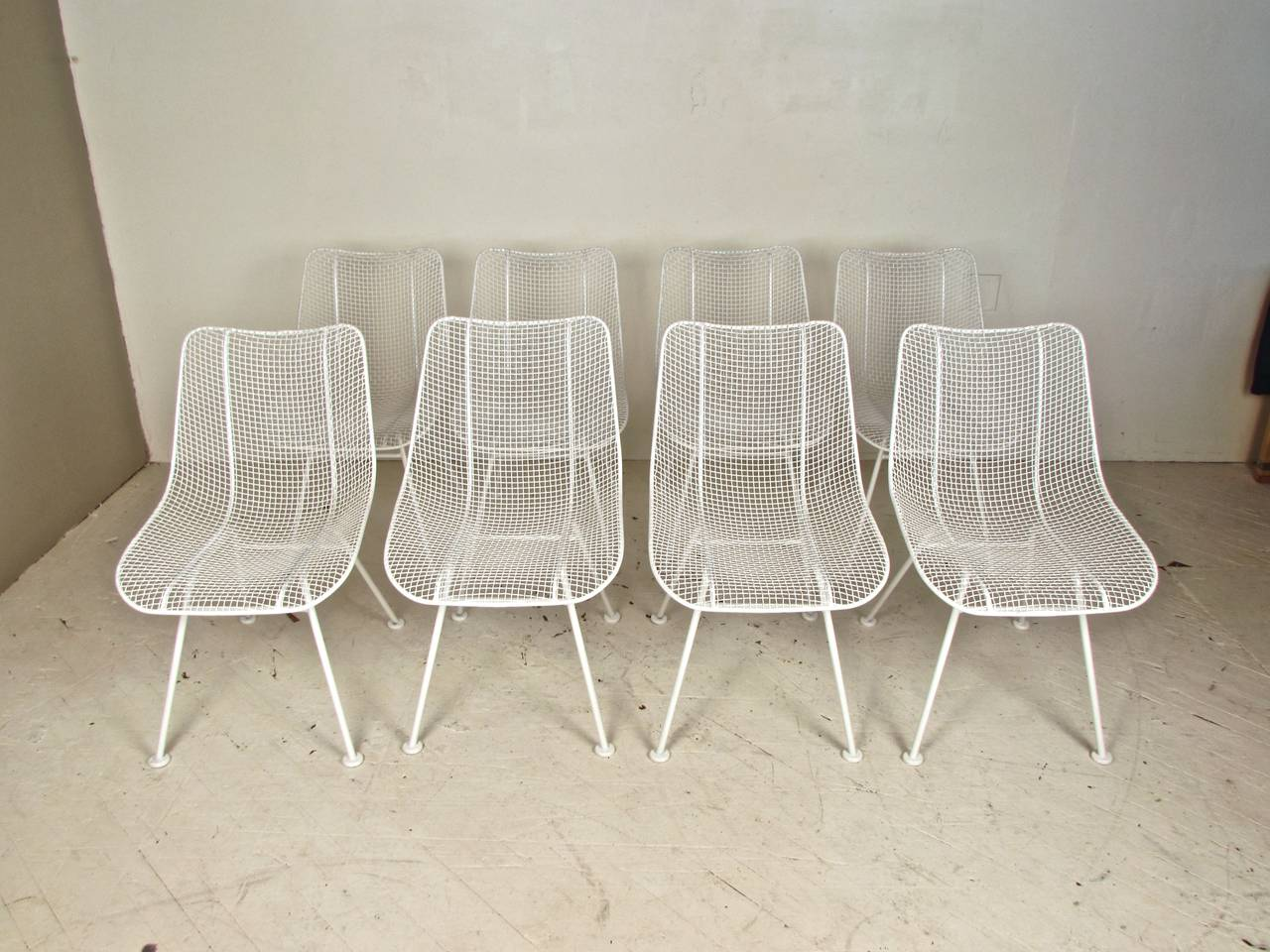 Bon Mid Century Modern Set Of Eight Wire Mesh Sculptura Chairs By Woodard  Furniture For Sale