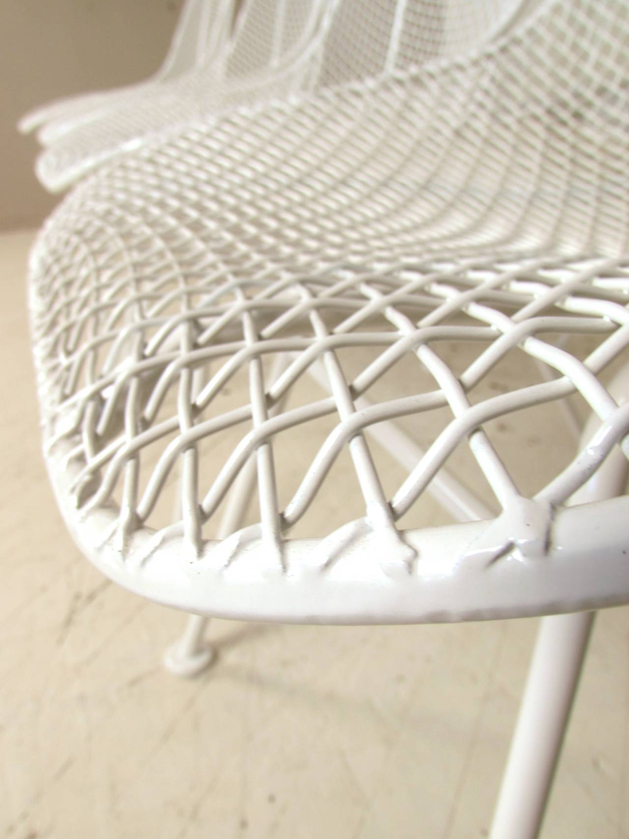 Set Of Eight Wire Mesh Sculptura Chairs By Woodard