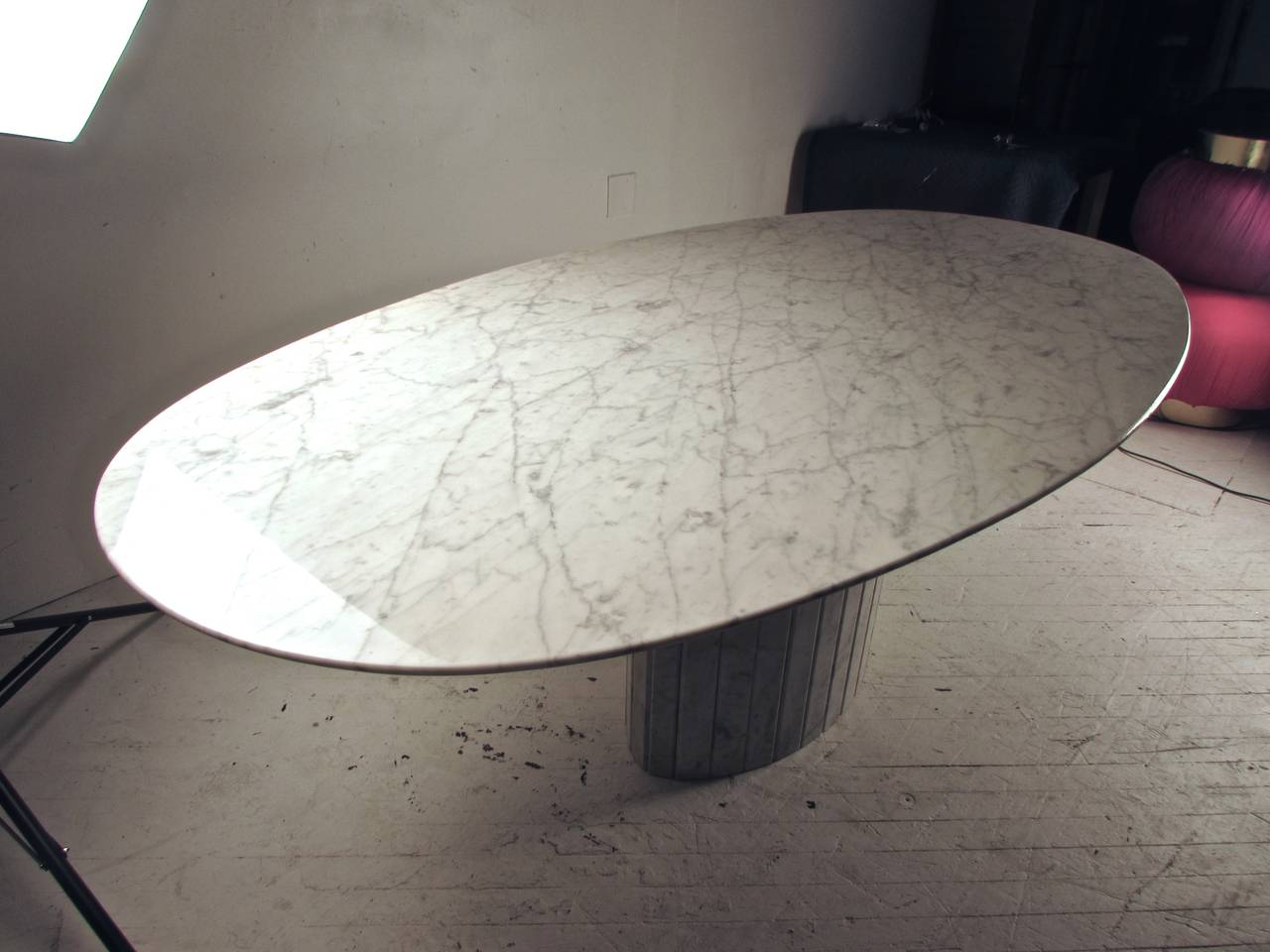 Oval Knife Edge Carrara Marble Dining Table Italy Circa