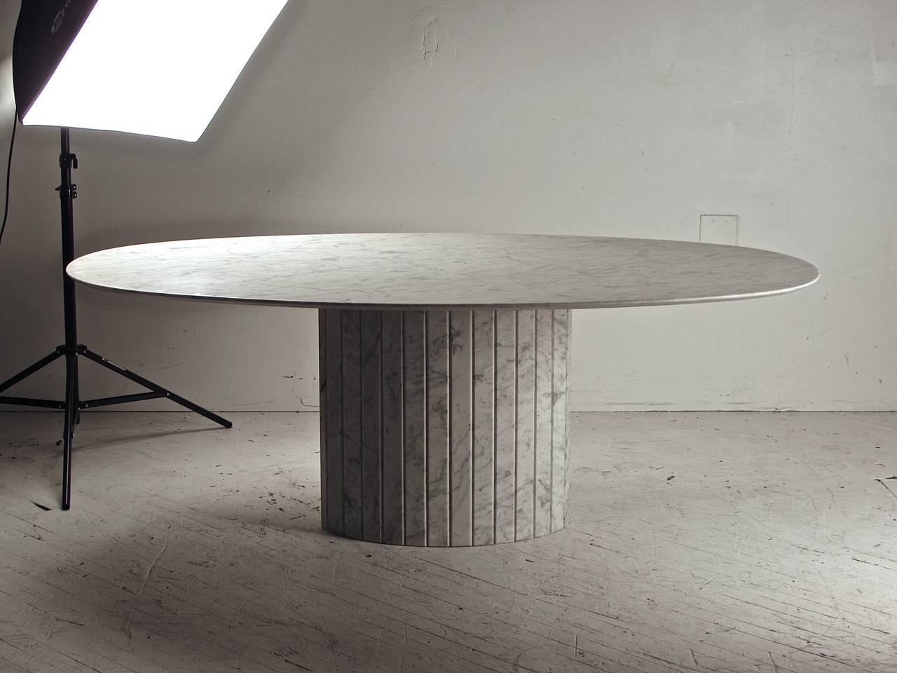 Oval Knife Edge Carrara Marble Dining Table Italy Circa