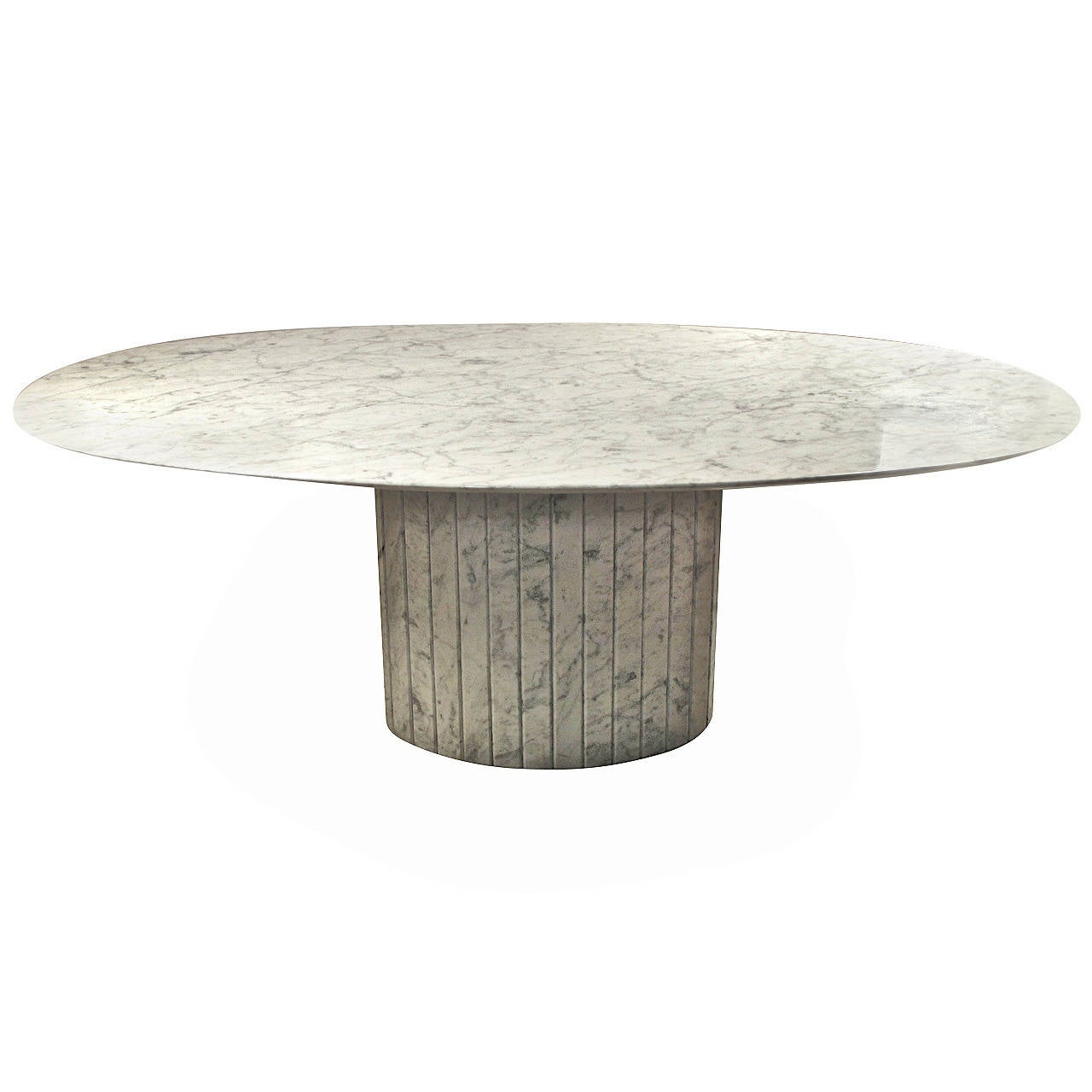 Oval Knife Edge Carrara Marble Dining Table Italy Circa 1970 At
