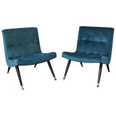 Exquisite Scoop Lounge Chairs in a Buttery Peacock Velvet by Milo Baughman