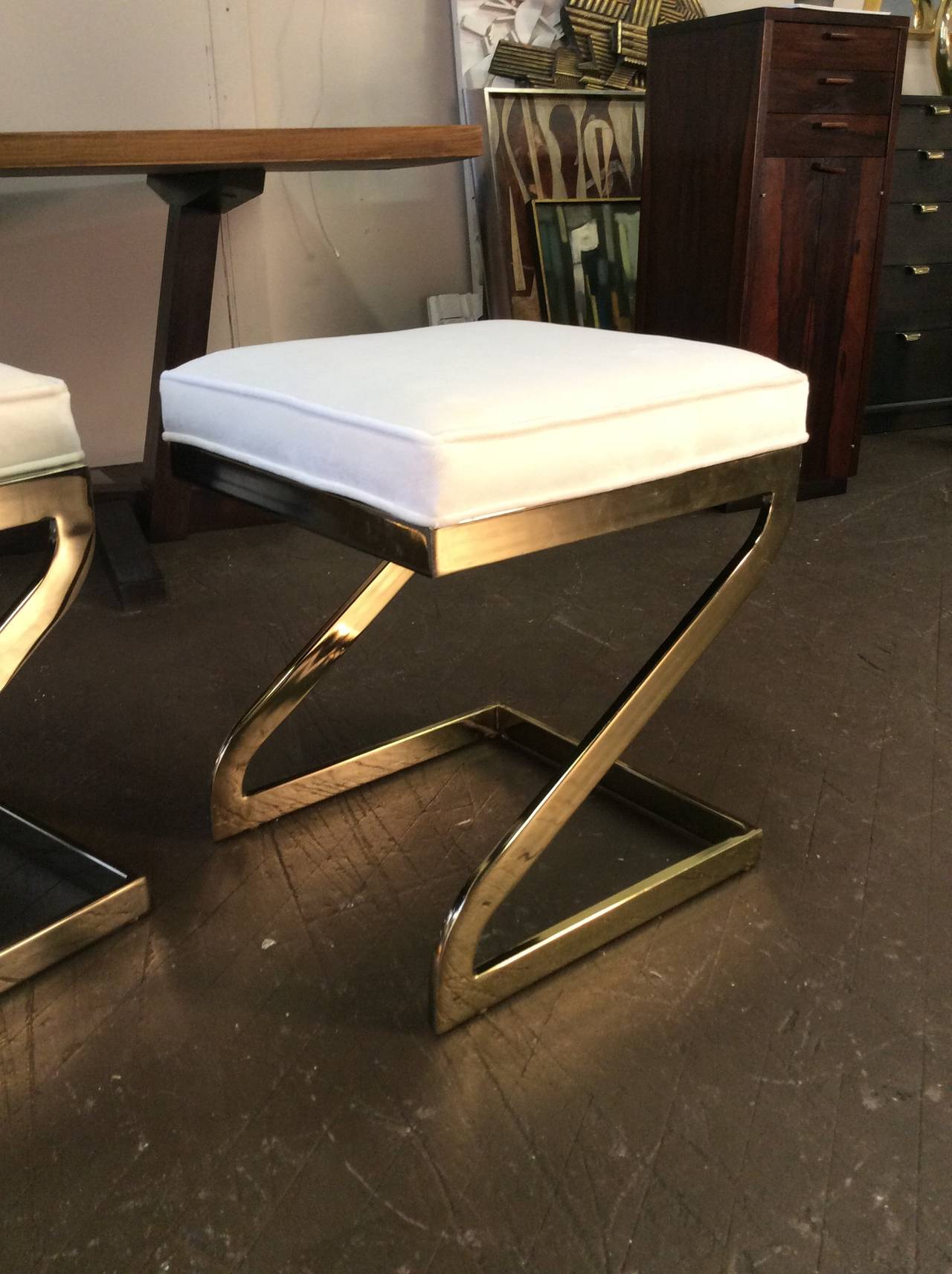Magnificent Trio Of Cantilevered Brass Quot Z Quot Form Stools