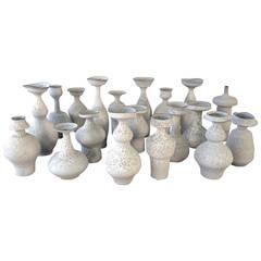 Masterful Studio Pottery Vases in a White Crater Glaze by Jeremy Briddell, 2015