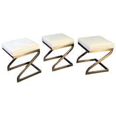"Magnificent Trio of Cantilevered Brass ""Z"" Form Stools, circa 1970"