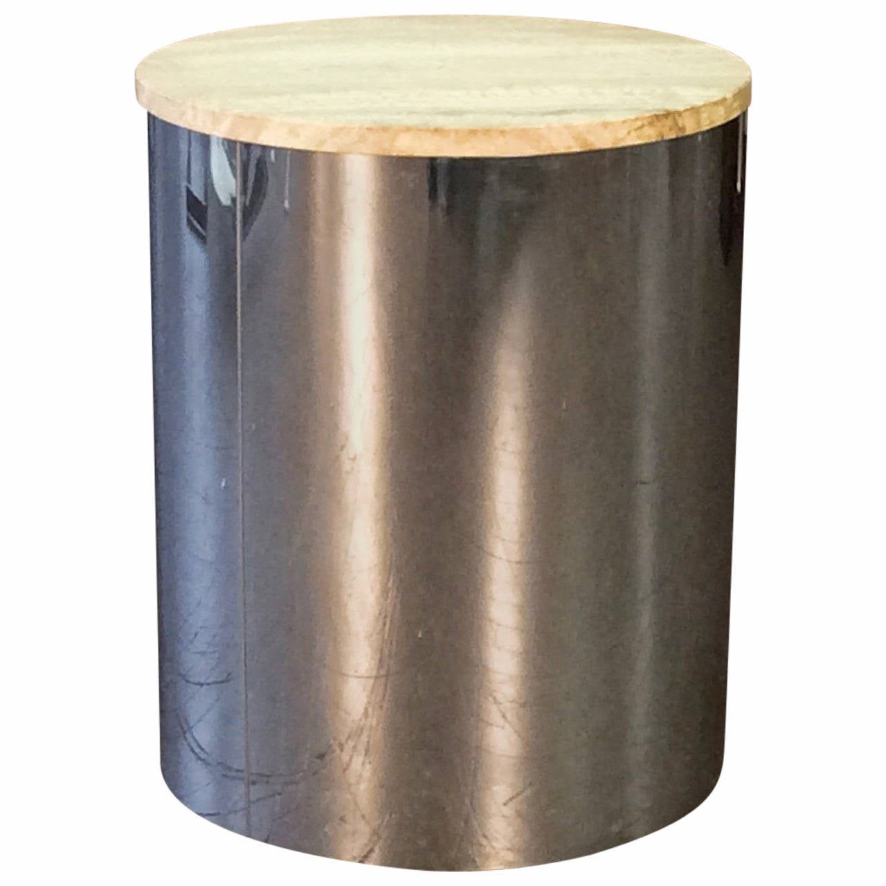 Chrome Drum Coffee Table: Sleek Chrome Drum Table With Travertine Top By C. Jere