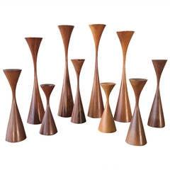 Forest of Ten Sculptural Danish Modern Candlesticks by Rude Osolnik, circa 1965