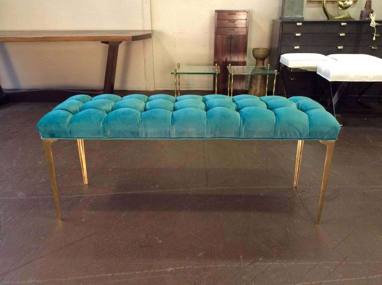 Custom Made Long Bench In Tufted Teal Velvet With Brass