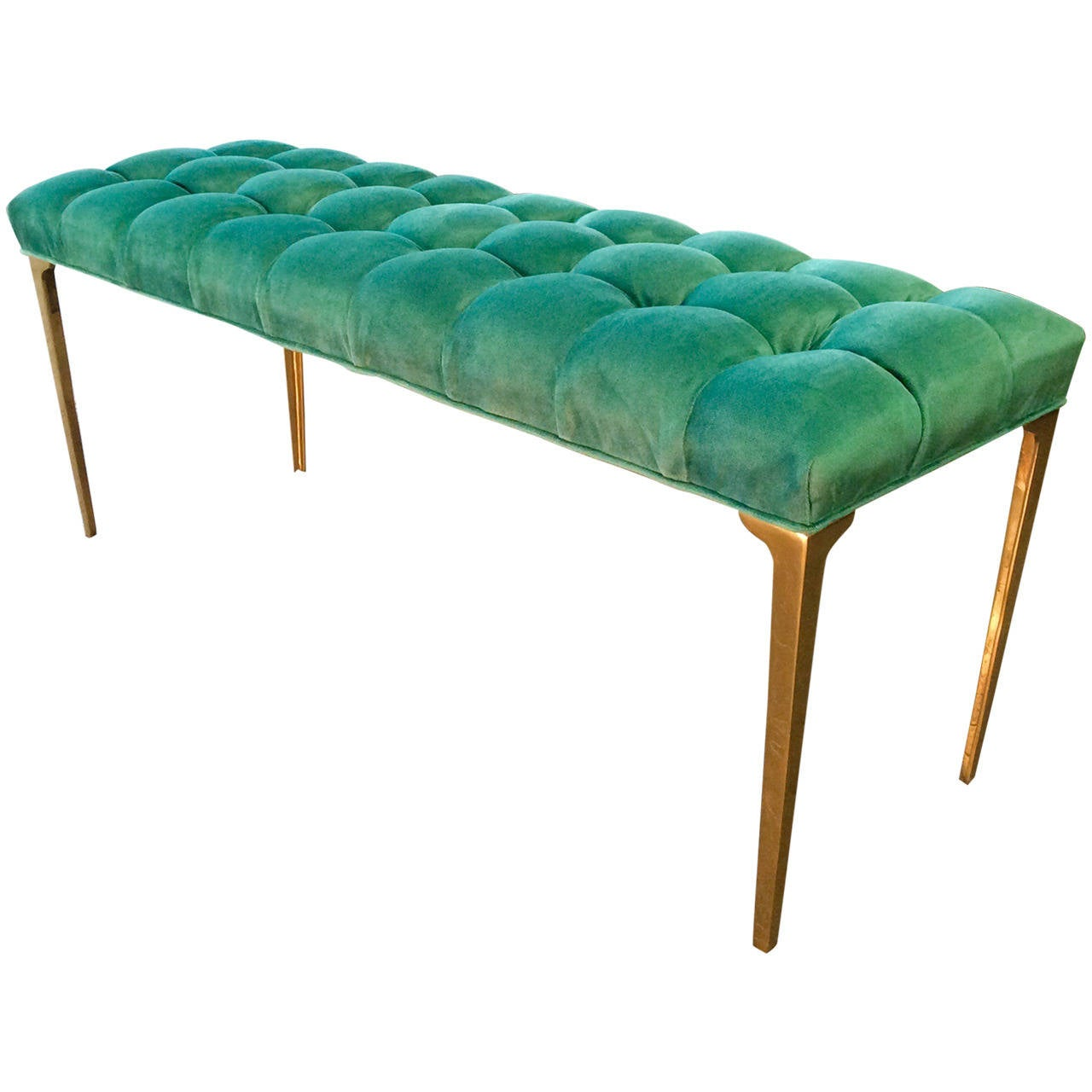 Custom Made Long Bench In Tufted Teal Velvet With Brass