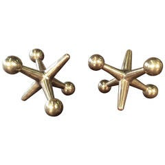 Best Pair of Oversized Solid Brass Jacks Bookends or Object